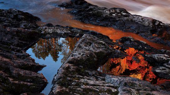 Reflétant les nuances chaudes du lever du soleil, une étendue d'eau inerte fait office de contrepoint ...