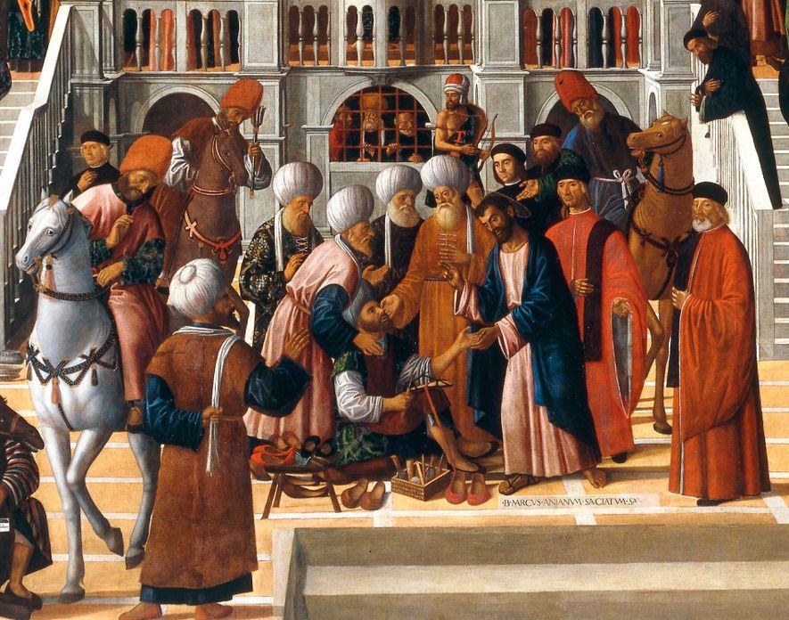 À Alexandrie, Marc (à droite) guérit un cordonnier, Anianus (assis), qui se convertit. Il accéda plus tard à la tête de l'église égyptienne. Peinture de G. Mansueti, XVIe siècle. Gallerie dell'Accademia, Venise, Italie