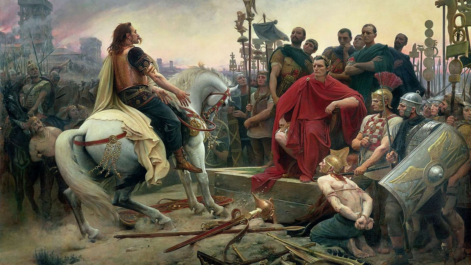 Vercingétorix jette ses armes aux pieds de César (tableau de Lionel Royer, 1899).