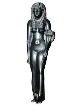 Statuette en basalte de Cléopâtre VII tenant une corne d'abondance. Premier siècle avant J.-C., Musée de l'Ermitage, ...