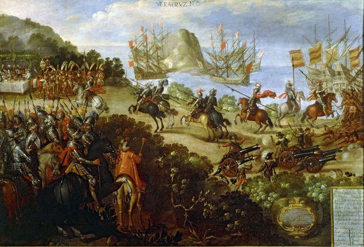 Ce tableau du milieu du 17e siècle, qui représente la rencontre entre Cortés et les ambassadeurs ...