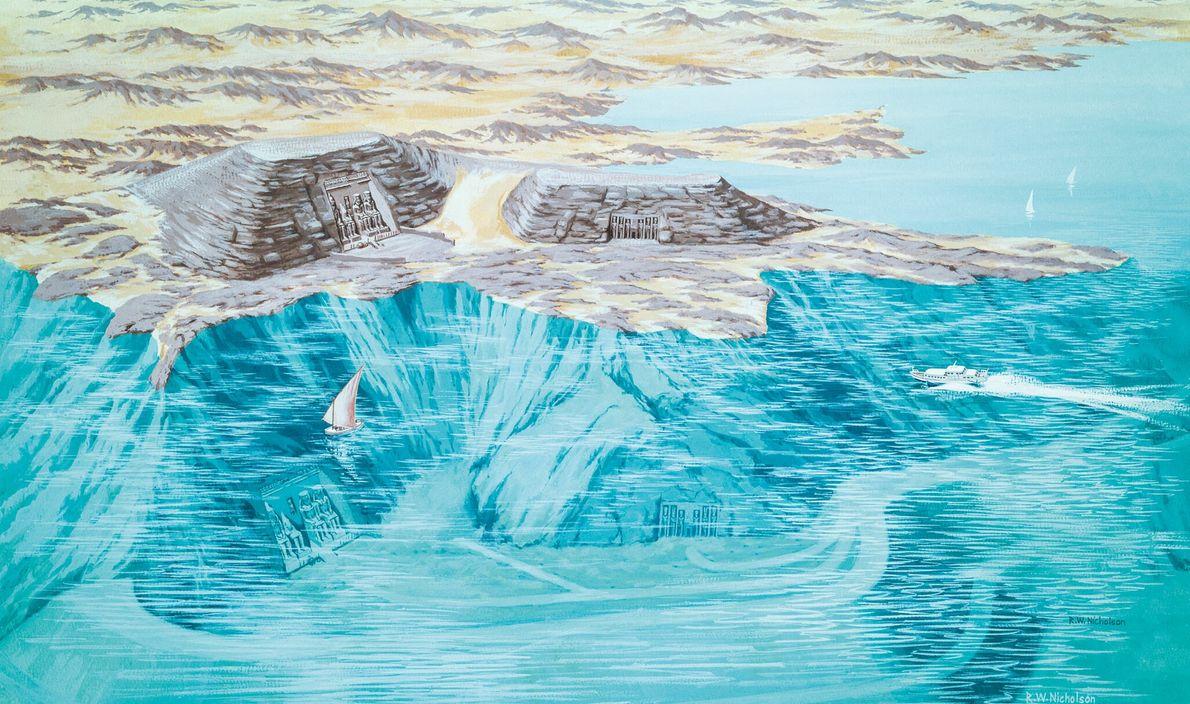 Cette illustration montre les emplacements actuel et originel des temples d'Abou Simbel. Le site originel, qui se ...