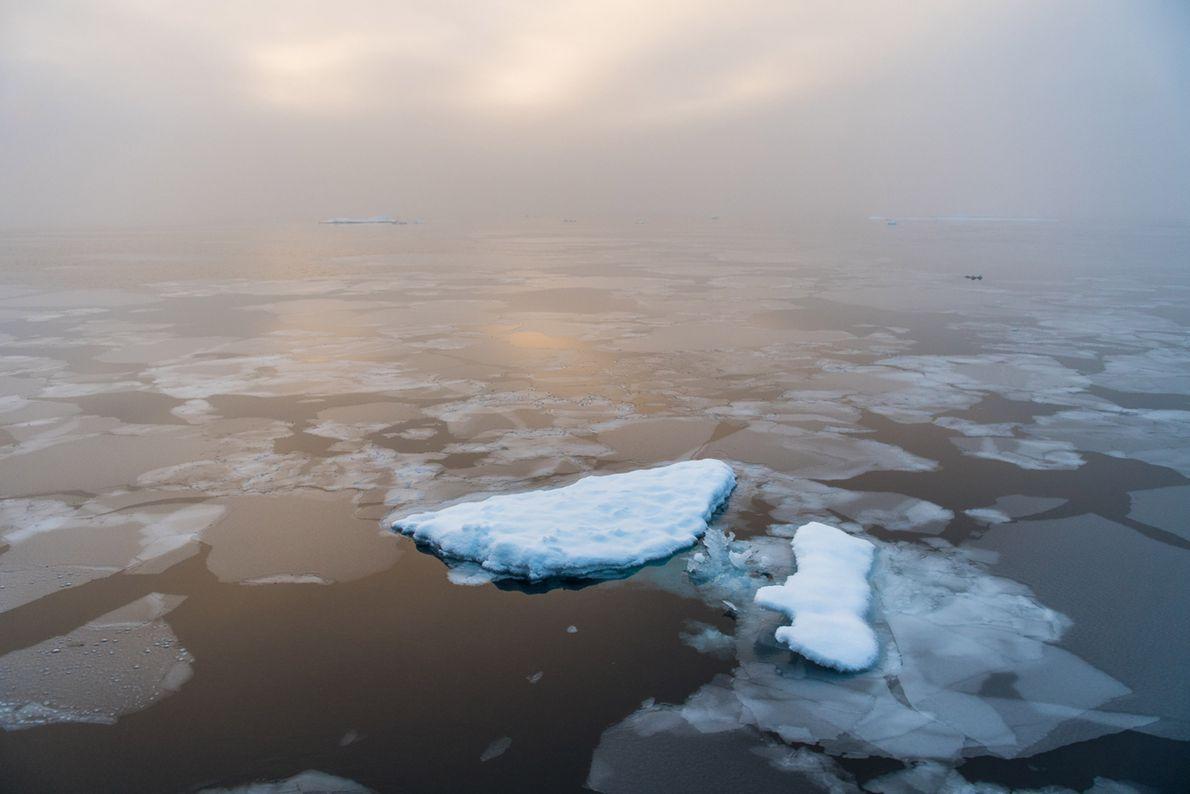 Le soleil matinal se lève sur l'Arctique engourdi.
