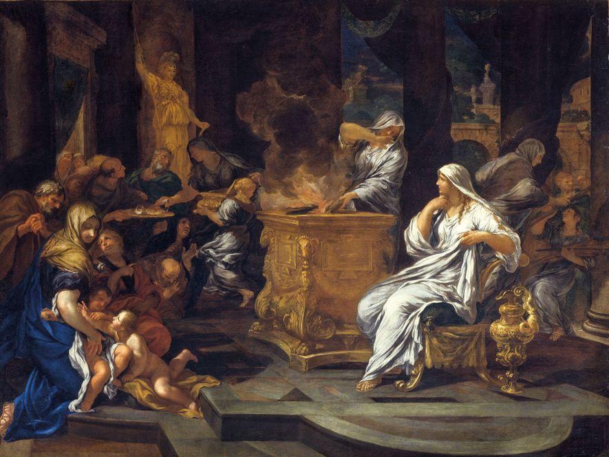 Les vestales s'occupent du feu sacré de Vesta, dont la protection de Rome dépend. Peinture à ...
