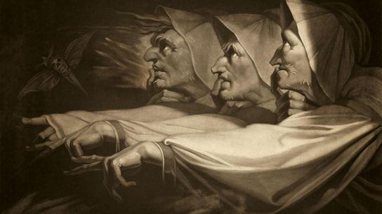 Reproduction du tableau d'Henry Fuseli de 1783 représentant les sorcières de Macbeth, la tragédie de Shakespeare. ...