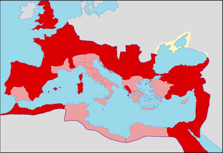 Carte de l'Empire romain sous le règne d'Antonin le Pieux avec les provinces sénatoriales et impériales ...