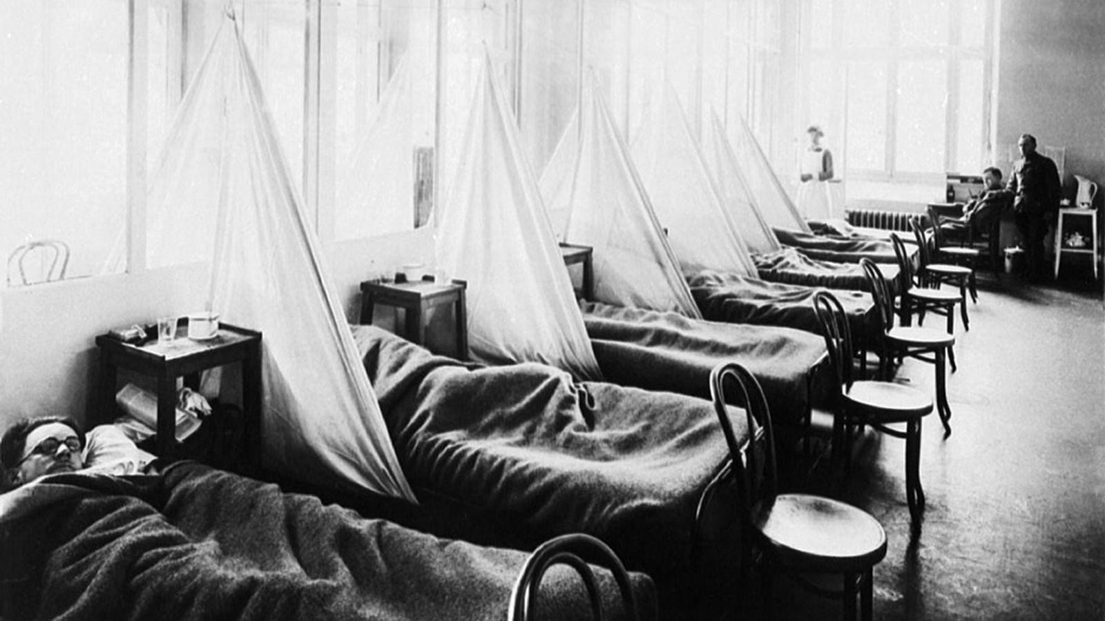 Camp de base américain - section de soins n°45, Aix-Les-Bains, France. Pandémie de grippe espagnole pendant ...