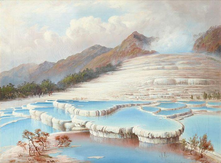 """La """"huitième merveille du monde"""" prenait la forme d'une immense cascade de pierres blanches et roses, ..."""