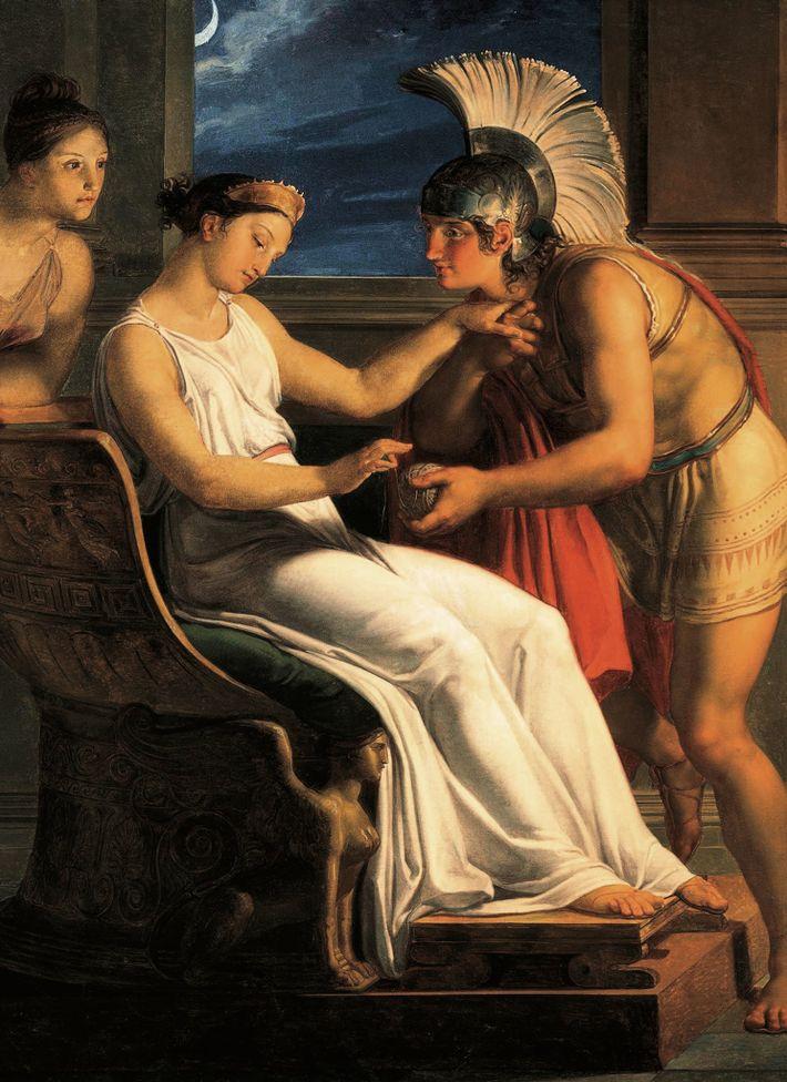 Le cadeau d'Ariane à Thésée lui permettra de se déplacer sans encombredans le labyrinthe.Peinture du XIXe ...