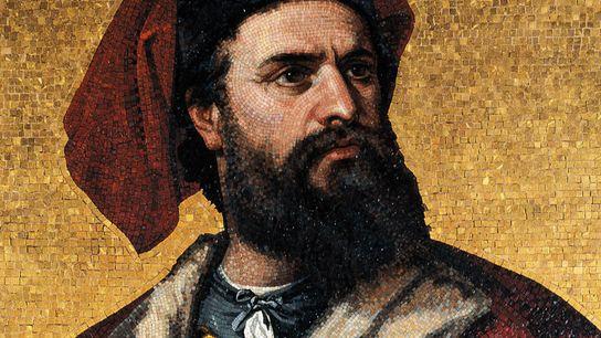 Sur cette mosaïque du 19e siècle visible au Palazzo Doria-Tursi à Gênes, Marco Polo est représenté ...