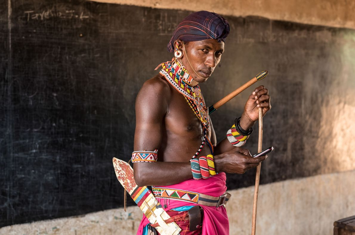 Un guerrier Samburu en salle de classe.