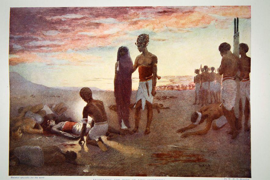 La reine Ahhotep retrouve son mari décédé, Séqénenrê Taâ, qui a succombé aux blessures infligées par les Hyksos au milieu du deuxième millénaire av. J.-C. Lithographie, 1910