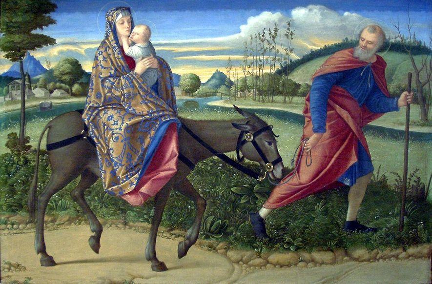 La Fuite en Égypte par Vittore Carpaccio (1500).