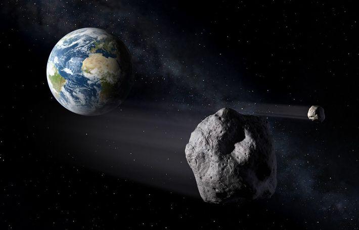 Vue d'artiste d'astéroïdes passant près de la Terre.