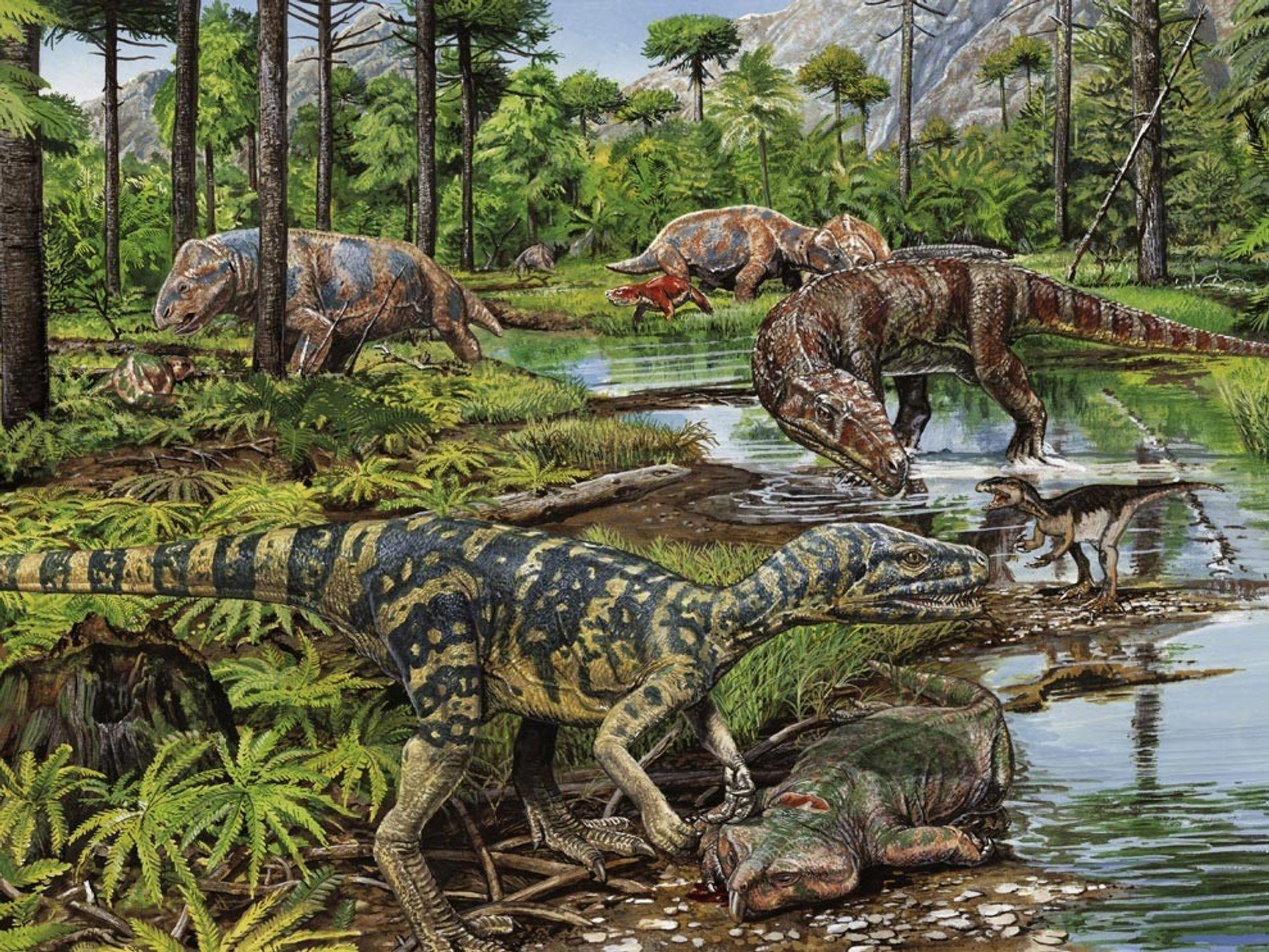 Cette vision d'artiste illustre le nouveau souffle de vie apparu au cours des périodes du Trias inférieur et moyen. Les extinctions massives qui marquent la fin de la période du Permien ont permis aux plantes et aux animaux qui leur ont survécu de grandir et de se diversifier en l'absence relative de concurrence et de prédateurs. Ces conditions ont permis l'avènement des dinosaures, des ptérosaures et des premiers crocodiliens.