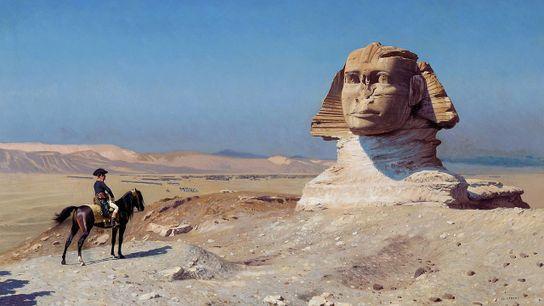 En 1867, Jean-Léon Gérôme offre  sa propre vision de Bonaparte en Égypte  : un conquérant solitaire ...