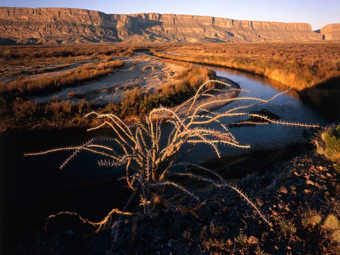 Au sein du très sauvage parc national Big Bend, le Rio Grande serpente au pied du ...
