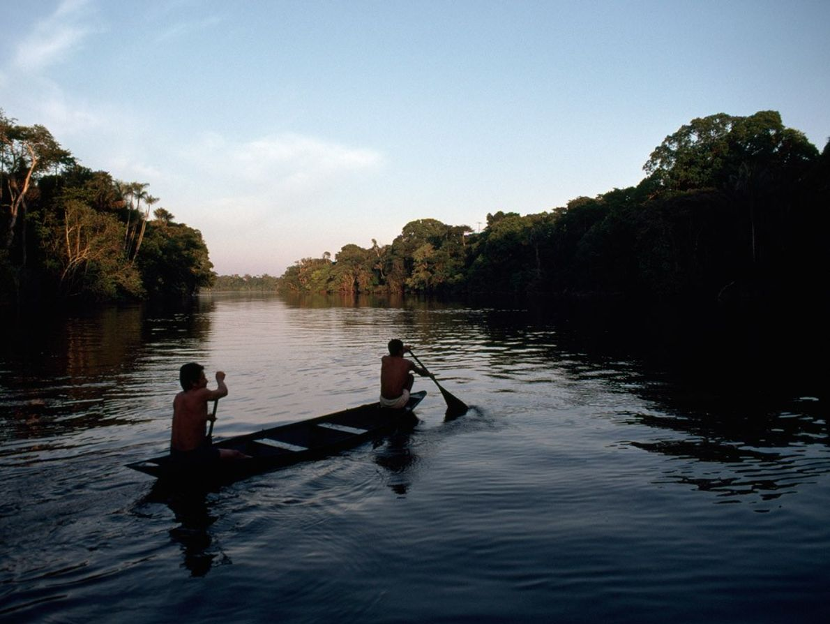 Des Amérindiens pagayent sur les eaux du Rio Negro, situé dans le bassin de l'Amazone au ...