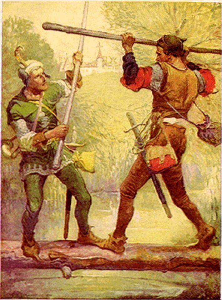 Robin des bois et Petit Jean s'affrontant pour la première fois.