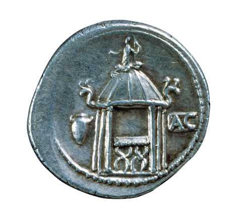 Le Temple circulaire de Vesta est représenté sur ce denier d'argent datant du 2e siècle avant ...