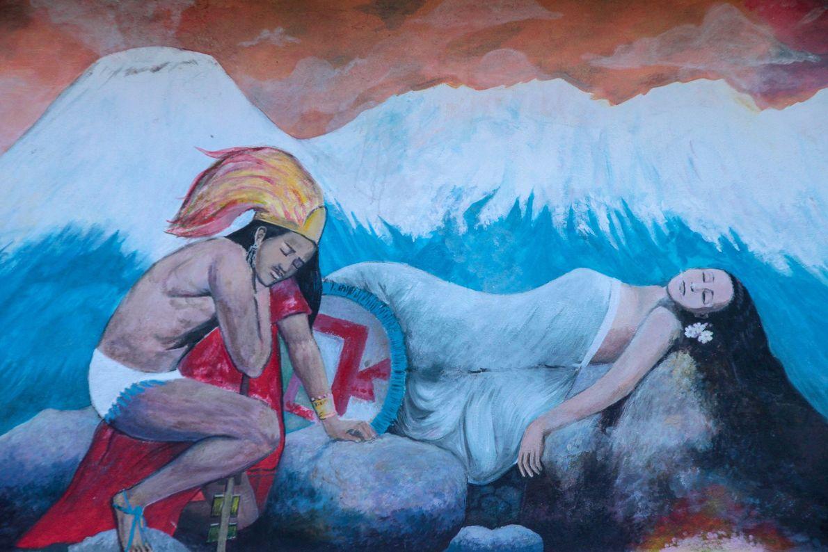 La légende du Popocatepetl s'affiche sur les murs de la maison de Don Antonio : on ...
