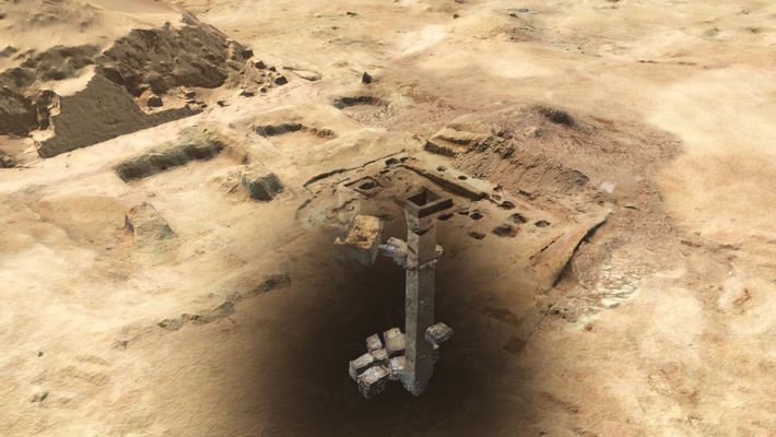 Un modèle numérique obtenu à partir d'un scanner 3D montre le puits principal qui mène au ...