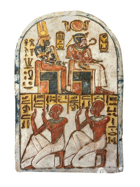 Cette stèle, qui se trouve maintenant au musée égyptien de Turin, en Italie, a appartenu au secrétaire royal Aménémopé et a été retrouvée dans sa tombe à Deir el Medina. Il est représenté avec son fils vénérant les reine et roi divinisés de Deir el Medina, Ahmès-Néfertary et son fils Amenhotep Ier. Créée à l'époque de Ramsès II, environ deux siècles après la mort d'Amenhotep et Ahmès-Néfertary.