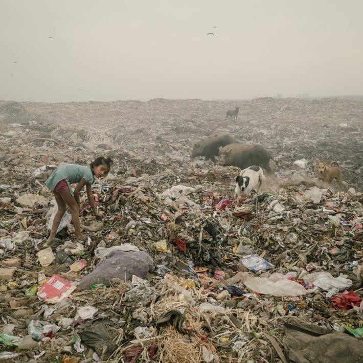 Dans une décharge à Bhalswa, Delhi, qui semble s'étendre sur plusieurs kilomètres, une jeune fille est ...