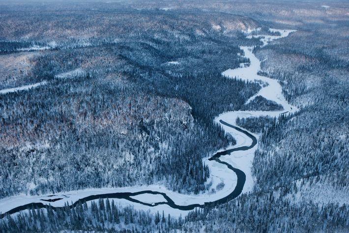 Ponctuée de rapides et de cascades, la rivière Kitka serpente à travers la forêt, avant de ...