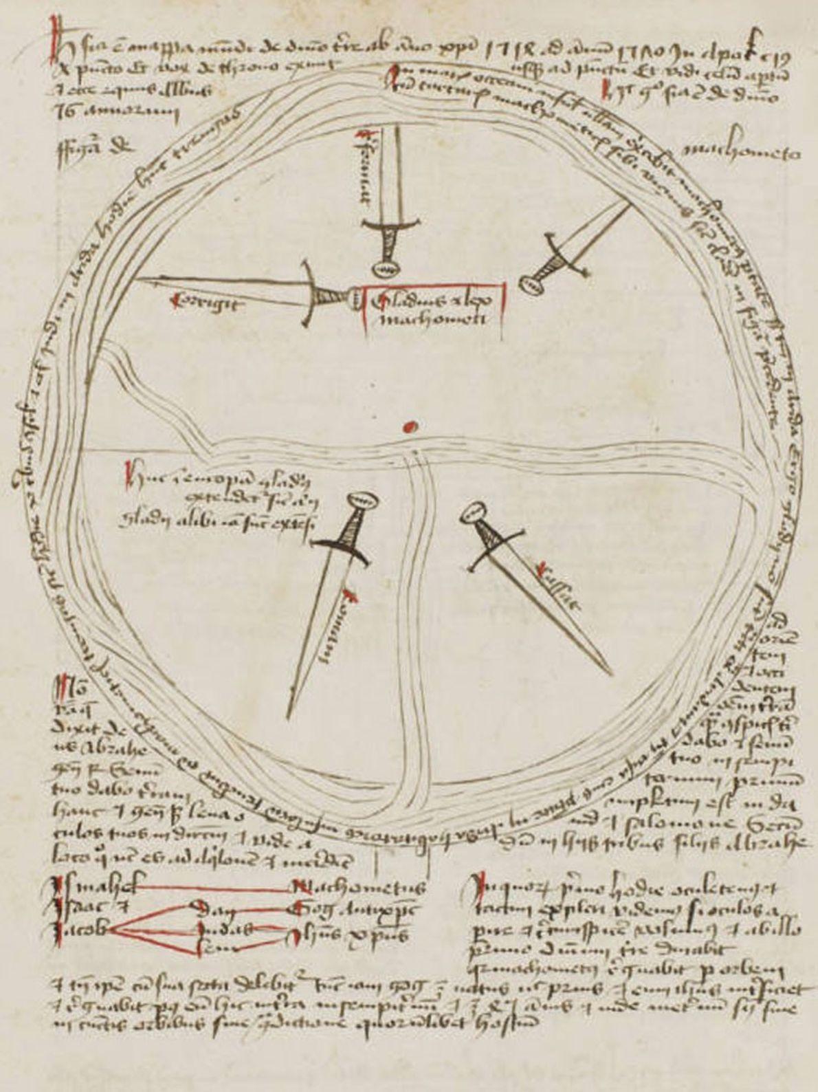Entre 1514 et 1570, selon cette carte, l'épée de l'Islam va abattre sur l'Europe et atteindre ...