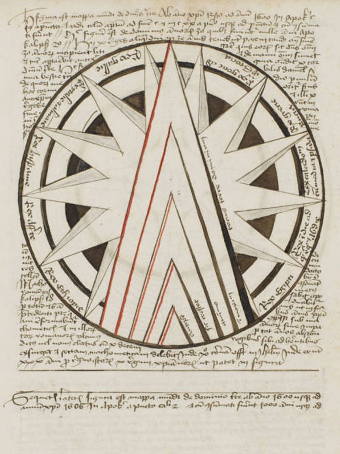 Les triangles de cette carte issue d'un manuscrit apocalyptique allemand du 15e siècle prédisent la montée ...