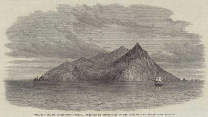 Pitcairn\'s Island, South Pacific Ocean, inhabited by Descendants of the Crew of HMS Bounty (engraving)