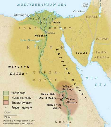 Carte des dynasties et des temples de l'Égypte ancienne.