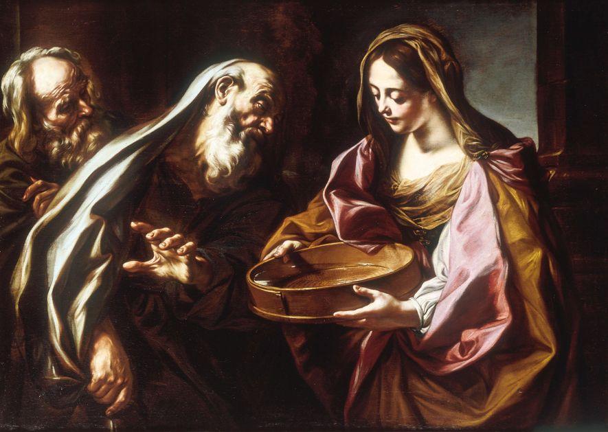 La vestale Tuccia, accusée à tort d'avoir brisé son vœu de chasteté, est sauvée par l'intervention ...