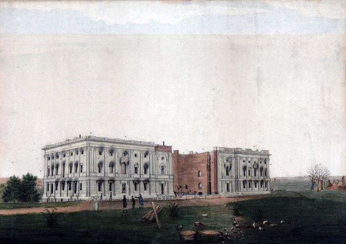 Alors que le Capitole des États-Unis était encore en construction, les Britanniques l'incendièrent pendant la guerre ...