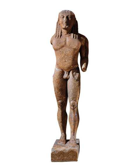 Biton. Kouros du VIe siècle av. J.-C., période archaïque, musée archéologique de Delphes.