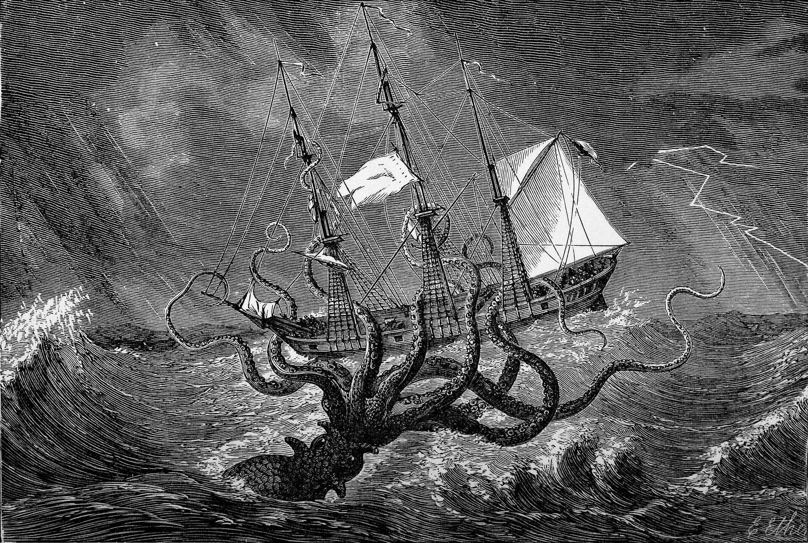 Il était dit que le tristement célèbre kraken menaçait les navires dans les mers au nord ...