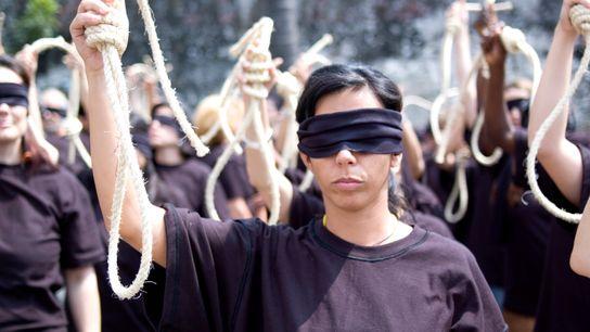 Action militante d'Amnesty International contre la peine de mort.