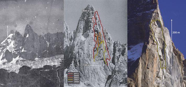 La face ouest des Drus (3754 m). À gauche : à la fin du Petit Âge Glaciaire ...
