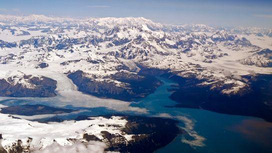 Glaciers dans le parc national de Wrangell-Saint-Élie, Alaska.