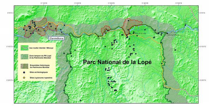 Localisation du site archéologique d'Elarmékora dans le site du patrimoine mondial Lopé -Okanda (Gabon).