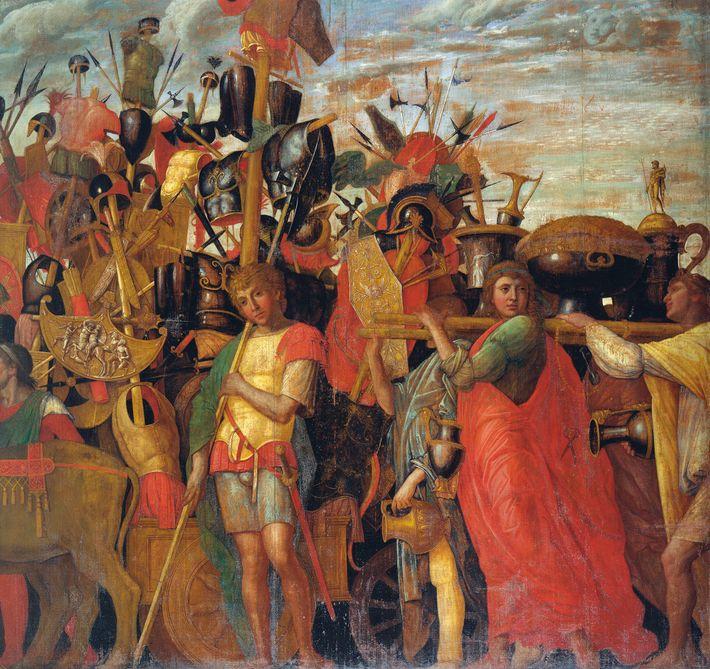 Les armures, armes et autres trophées de guerre étaient transportés parmi la foule.