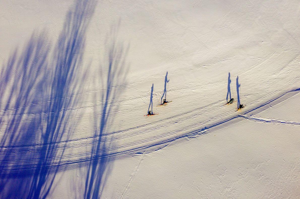 Les arbres et les skieurs de fond projettent une ombre effilée sur la neige du Rikert ...