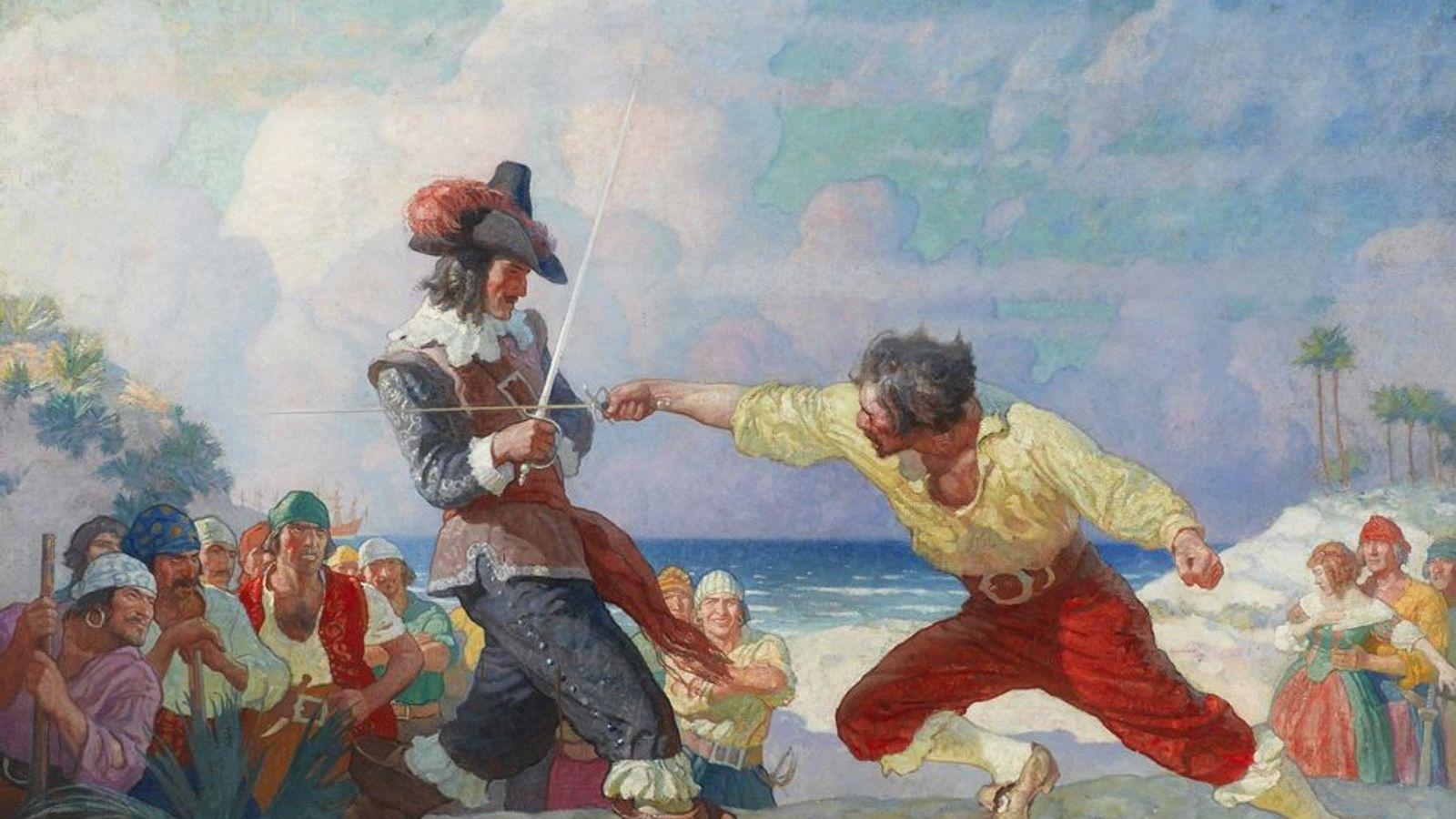 Le duel sur la plage Cette peinture, de l'artiste américain N.C.Wyeth, a été achevée en 1926 et ...
