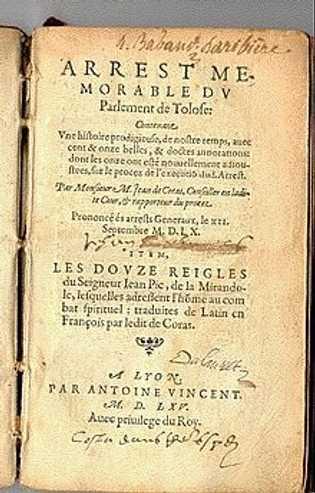 Compte rendu du procès écrit par Jean de Coras, édition de 1565.