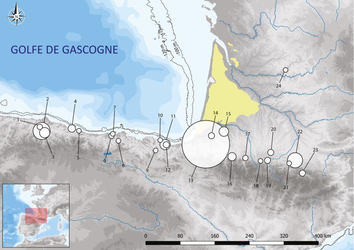 Carte de distribution des objets fabriqués en os de grands cétacés datés du Magdalénien dans le ...