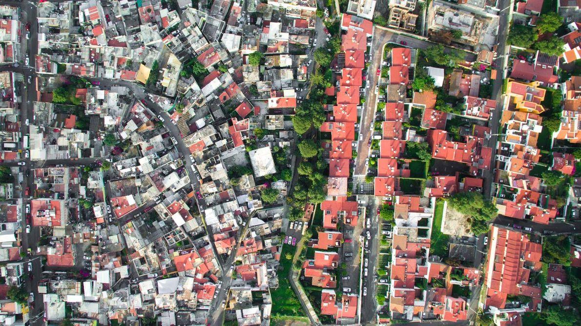 Le quartier de La Malinche, à Mexico, est limitrophe d'un quartier beaucoup plus aisé.