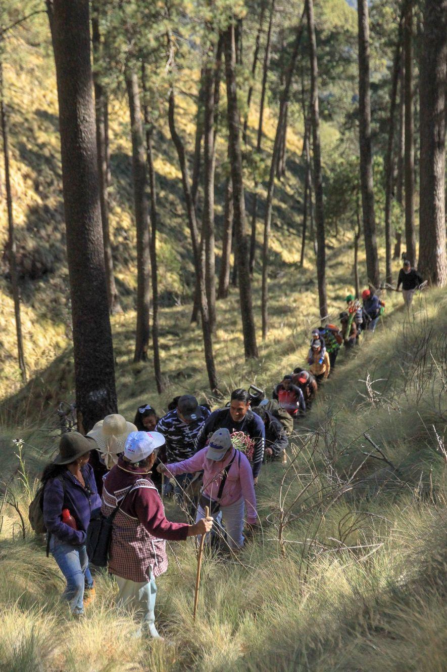Dona Ines veille sur un groupe de marcheurs. Elle va mener vingtaine de personnes jusqu'au sommet du Popocatepetl.