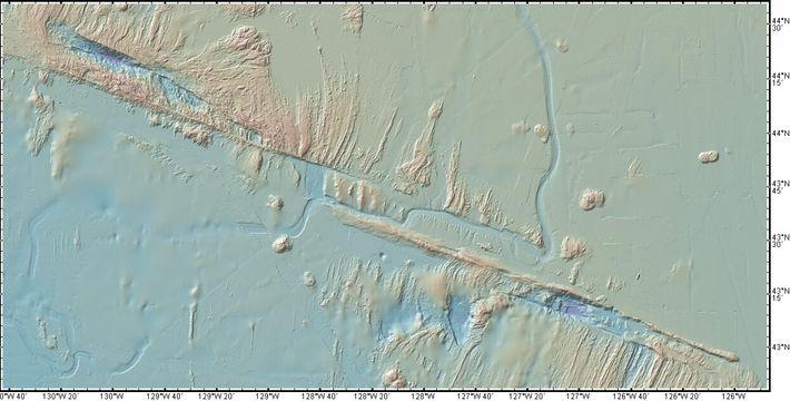 La zone de fracture Blanco, dans le nord-est de l'Océan Pacifique. Image générée avec GeoMapApp.