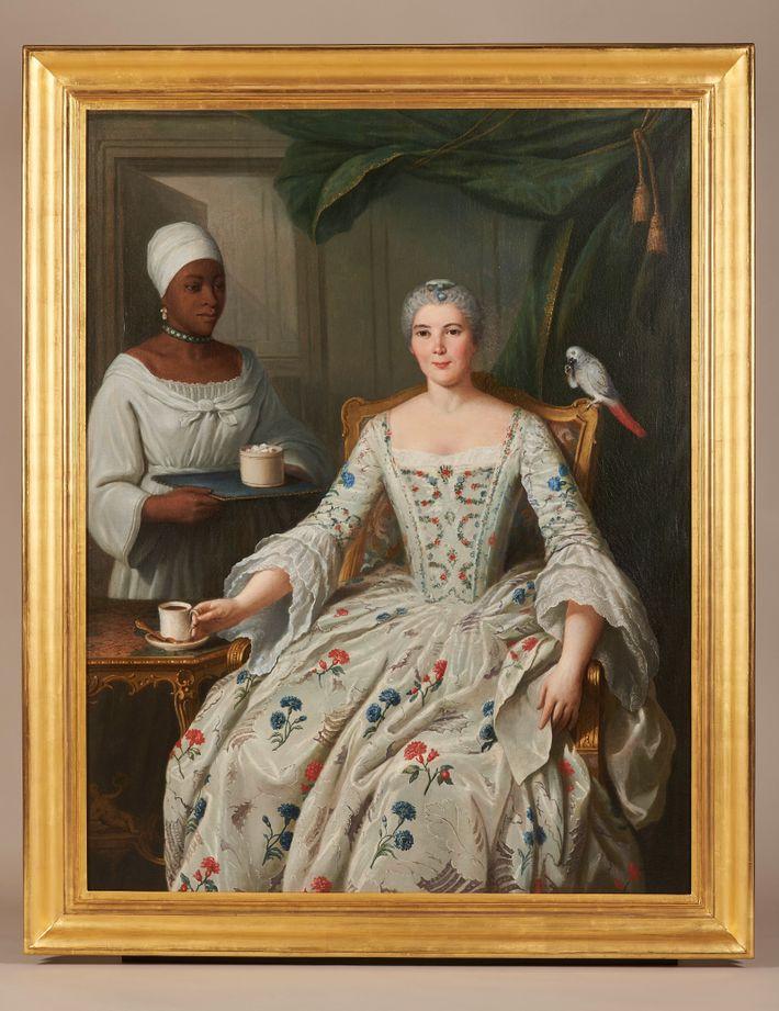 Portrait de Marguerite Deurbroucq, née Sengstack, avec une esclave noire.